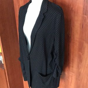 Max Studio black blazer/white polka dots
